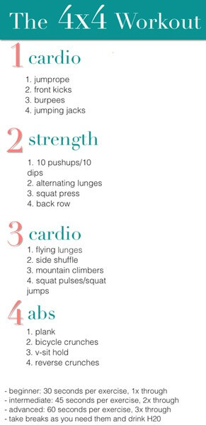 The 4x4 Workout - Healthy Fitness Exercises Cardio Strength Abs