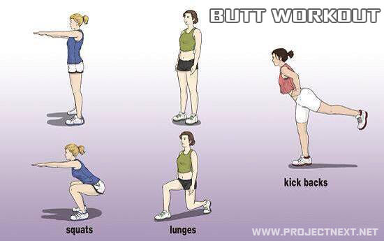 Butt Workout - Healthy Fitness Exercise Lunges Squats Kick Backs