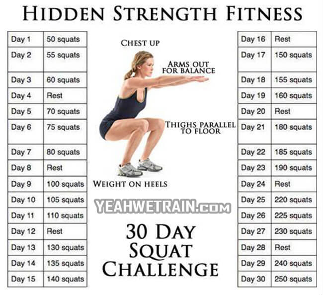 Hidden Strength Fitness 30 Days Squat - Healthy Fitness Exercise