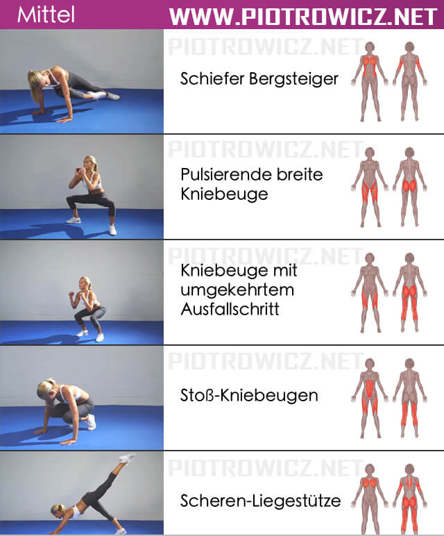 Women Full Body Workout MEDIUM - Healthy Fitness Exercise Ab Leg