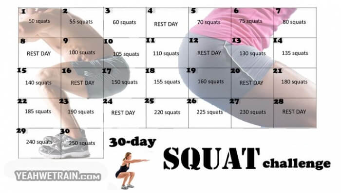30 Day Squat Challenge - Healthy Fitness Exercise Butt Legs Sexy