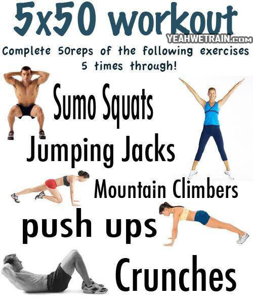 5x50 Workout - Healthy Fitness Sixpack Squat Push-Ups Full Body