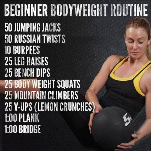 Beginner Bodyweight Routine - Workout Fitness Healthy Full Body