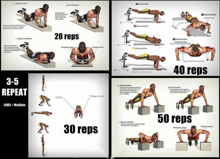 Hardcore Push-Up Training - Fitness Names Workouts Tricep Chest