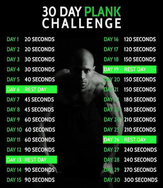 30 Day Plank Challenge - Healthy Fitness Workout Sixpack Abs