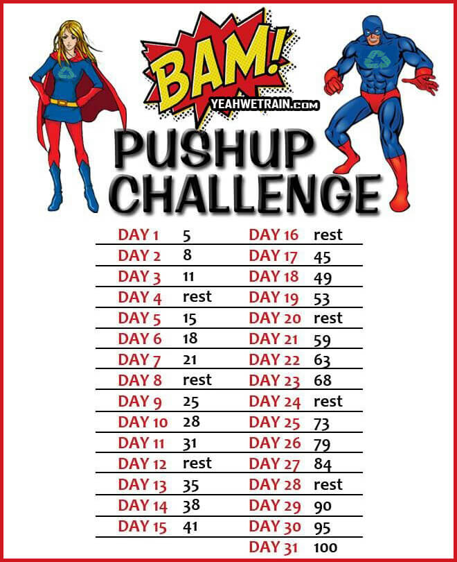 Super Hero: Push-Up Challenge - Chest Shoulder Tricep Workout Ab