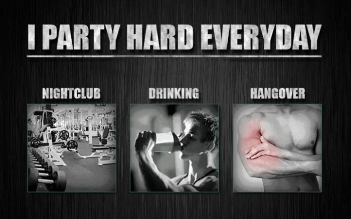 I Party Hard Everyday - Nightclub Drinking Hangover Training Abs