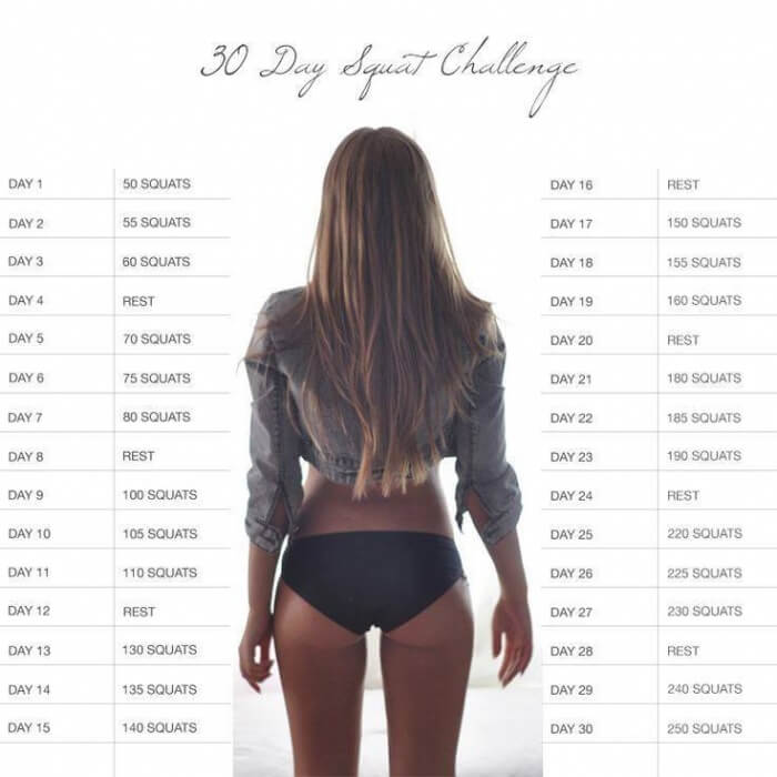 30 Day Squat Challenge - Healthy Fitness Workout Butt Legs Core