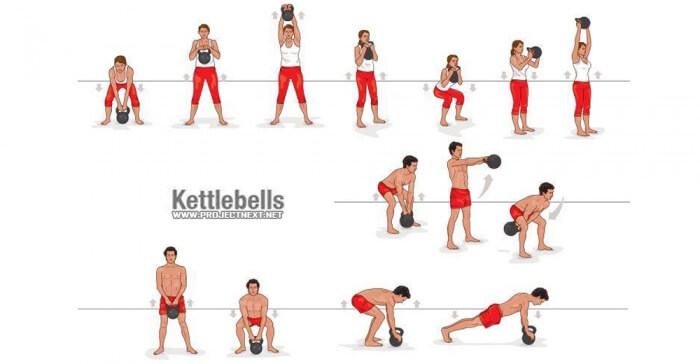 Best Kettlebell Exercises - Healthy Fitness Workout Gym Home Abs