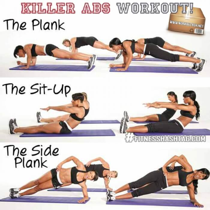 Killer Abs Workout! Sixpack Exercises Healthy Fitness Core Arms