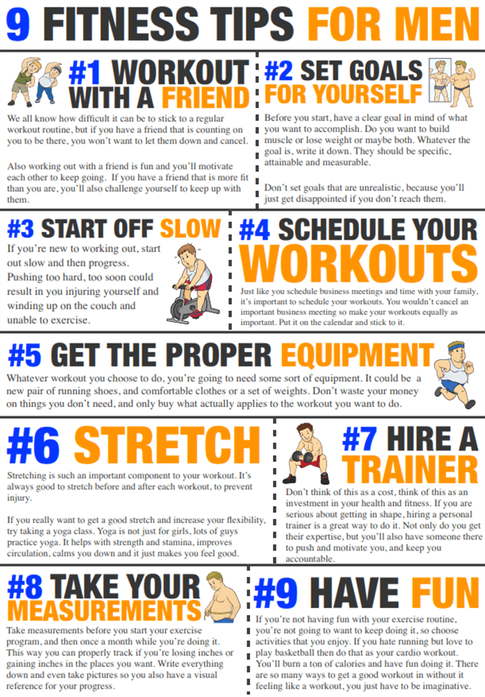 9 Fitness Tips For Men - Healthy Workout Stretch Set Goals Abs