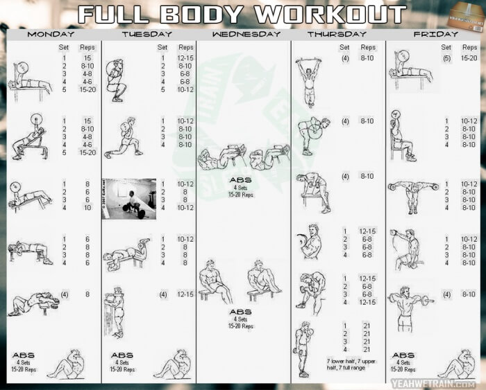 Week Full Body Workout Plan - Fitness Healthy Workouts Legs Abs