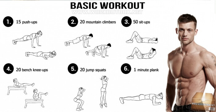 Basic Workout - Fitness Training Healthy Push-Ups Sit-Up Sixpack
