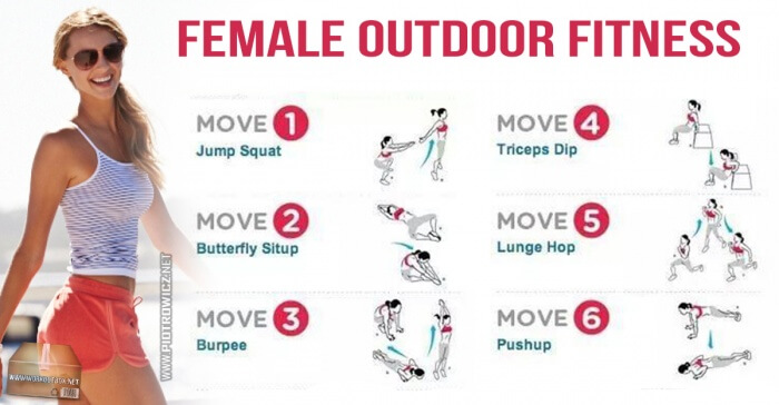 Female Outdoor Fitness - Healthy Training Squat Burpee Sixpack