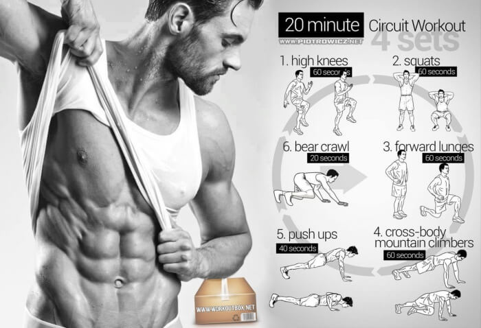 20 Minute Circuit Workout - 4 Sets Knees Body Healthy Fitness Ab