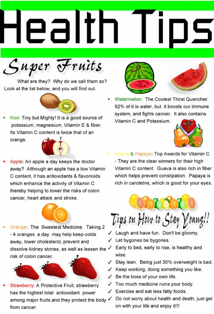 Health Tips: Super Fruits! Kiwi Apple Orange Strawberry Water