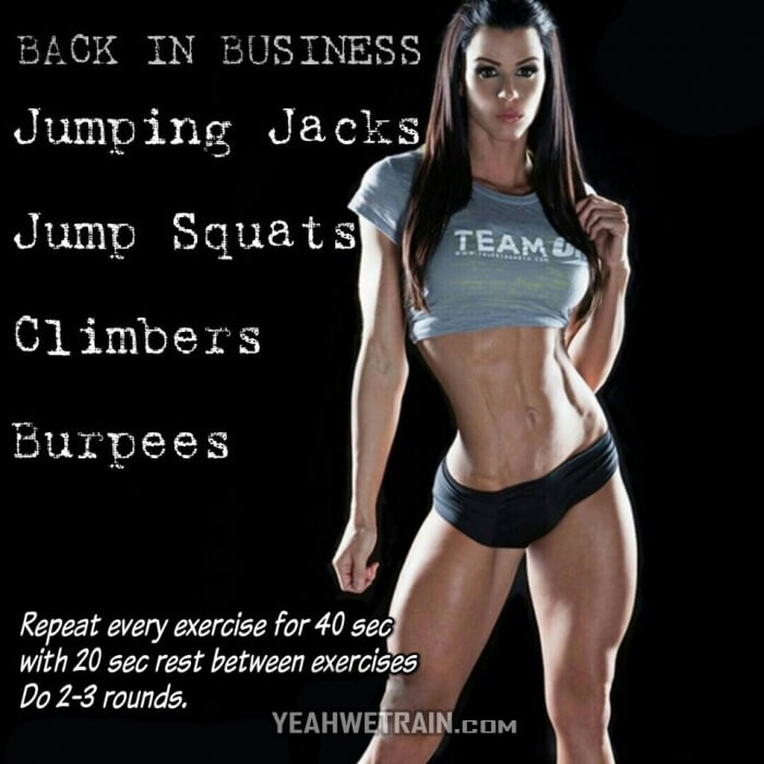 Back In Business Workout - Jumping Jacks Jump Squats Climbers Ab