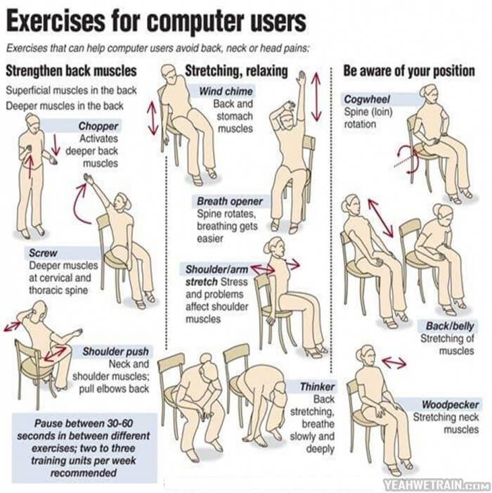 Exersises For Combuter Users ! Strengthen Back Muscle Stretching