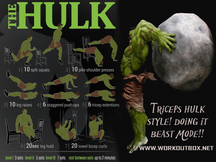 The HULK Workout Plan - Healthy Fitness Training Tricep Bicep Ab