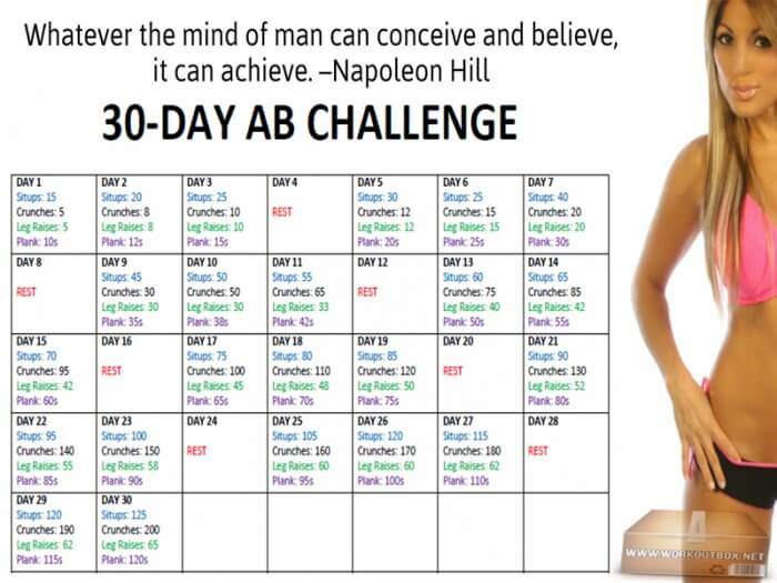 30-Day Ab Challenge - Fitness Sixpack Workout Training To Be Fit