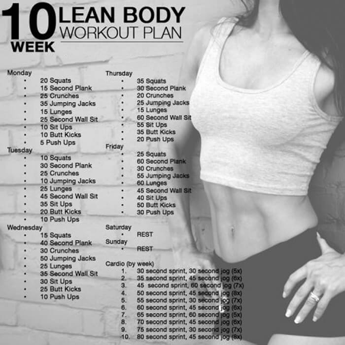 10 Week Lean Body Workout Plan - Sexy Training Routines Sixpack