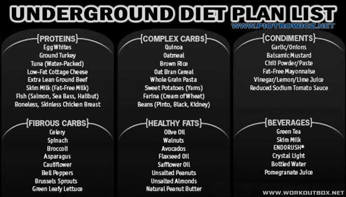 Underground Diet Plan List - Protein Complex Carbs Healthy Fats