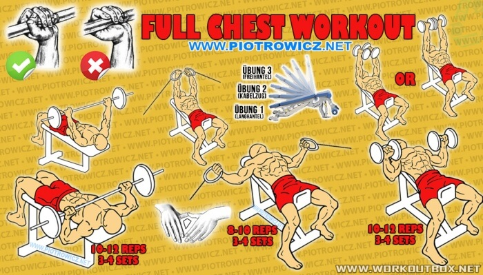 Full Chest Workout - Decline Incline Bench Press Upper Lower Abs