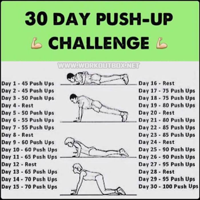 30 Day Push-Up Challenge - Fitness Body Health Workout Plan Arms