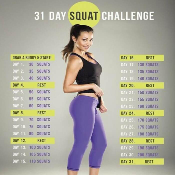 31 Day Squat Challenge - Healthy Fitness Training Butt Glute Leg
